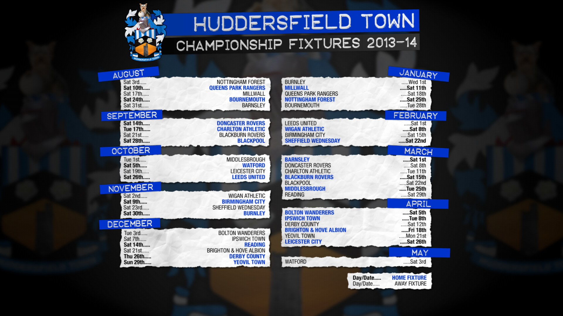 Desktop Fixture List | DATM - Down At The Mac - Huddersfield Town